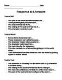 Response to Literature Note Sheet and Introduction Activity