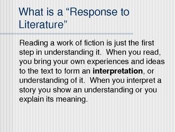 Response to Literature PowerPoint Presentation
