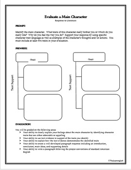 Response to Literature Prompts, Rubrics, and Prewriting Pages