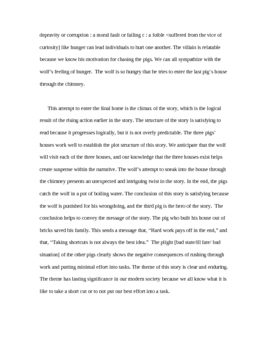 Response to Literature Sample Essay 3 Little Pigs effective story