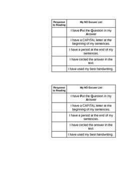 Response to Reading Checklist