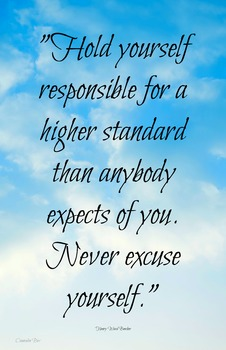 Responsibility Quote 11x17 Classroom Poster Motivation Character Ed PNG