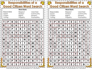 Responsibilities of a Good Citizen Interactive Notebook BUNDLE - Citizenship