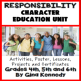Responsibility Character Education Unit, No-Prep Lessons, Activities & Projects