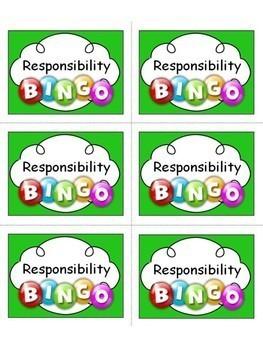 Responsibility Bingo !