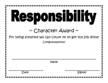 Responsibility Character Award
