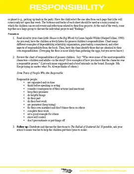 Responsibility Character Lesson Plan