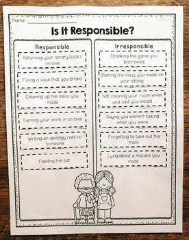 Responsibility Cut And Paste Activities