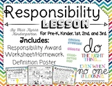 Responsibility Lesson Certificate Poster and Worksheet