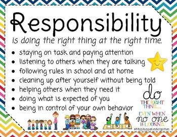 Responsibility Worksheets For Kindergarten