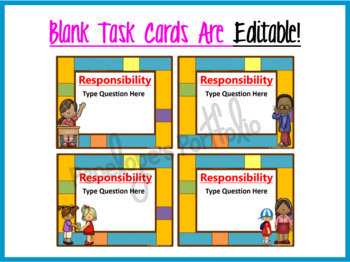 Responsibility Task Cards - Character Education Questions