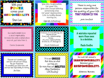 "Responsibility ""Thought for the Day"" Character Education Posters"
