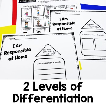 Responsibility at Home   Differentiated Writing Activity   Character Lesson