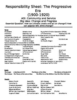 Responsibility sheet: Study guide for Progressive Era