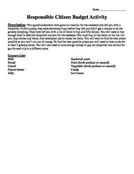 Responsible Citizen Budget Activity from GA DOE Unit