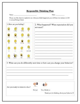 Responsible Thinking Plan / Reflection sheet / Behavior sheet