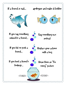 Responsive Classroom: Apologizing and Making it Better Poster: Fish Theme