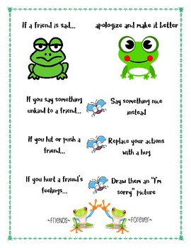 Responsive Classroom: Apologizing and Making it Better Poster: Frog Theme