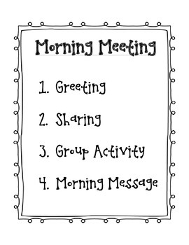 Responsive Classroom Morning Meeting Agenda
