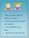 Responsive Classroom: Morning Meeting Rules Poster