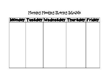 Responsive Classroom Morning Meeting Sharing Schedule