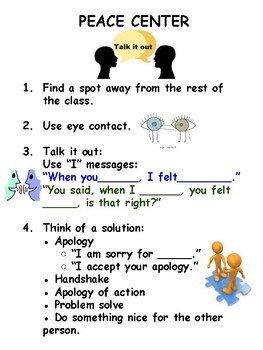 Responsive Classroom Poster Peace Center Talk It Out Apology Cooperation
