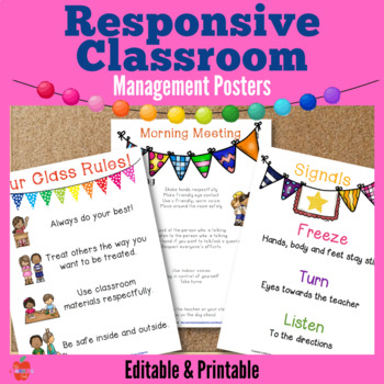 Responsive Classroom Management Posters: Morning Meeting, choice, chalkboard