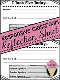 Responsive Classroom Reflection Sheet