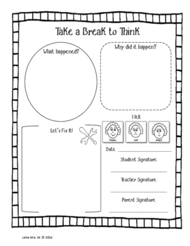 Responsive Classroom Reflection Sheets