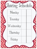 Responsive Classroom Sharing Schedule - Blank and Patterned