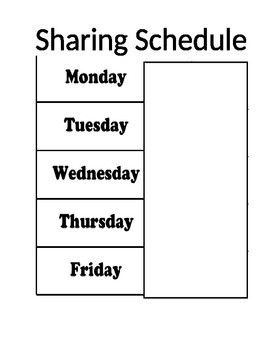Responsive Classroom Sharing Schedule - Editable