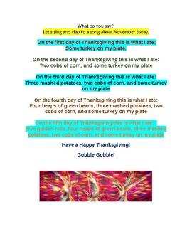 Responsive Classroom  for November Songs