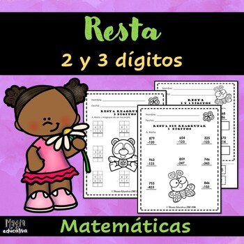 Resta 2 & 3 dígitos  | Spanish Subtraction 2 & 3 digits (worksheet)