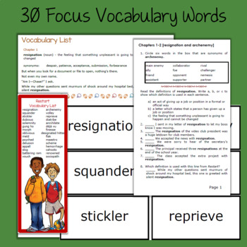Restart Novel Study: vocabulary, comprehension questions, writing, skills