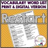 Restart Vocabulary Word List