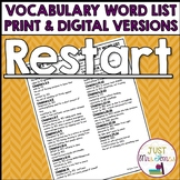 Restart Vocabulary Word List