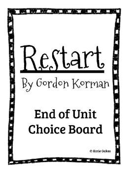Restart by Gordon Korman End of Unit Choice Board