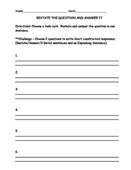 Restate and Answer Station Cards