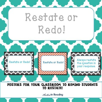 Restate or Redo! Posters for the Classroom