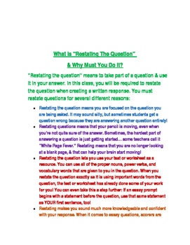 Restate the Question- 3 Activities to teach the skill of restating questions