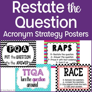 restate the question acronym strategy posters freebie by tessa maguire. Black Bedroom Furniture Sets. Home Design Ideas