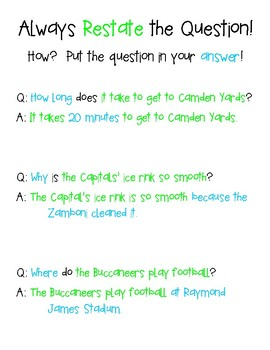 Restate the Question Anchor Chart - CUSTOM Orders Accepted