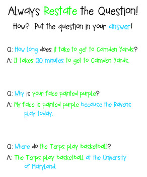 Restate the Question Anchor Chart - Maryland Sports - CUSTOM Orders Accepted