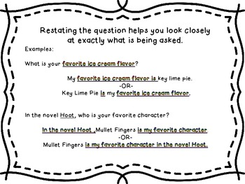 Restate the Question -Example Page for Students and Task Cards for Practice