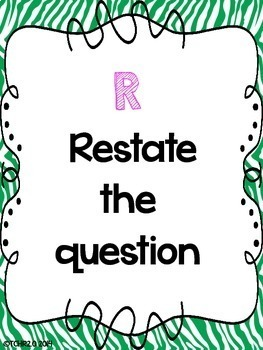 RADD Restate the Question Answering Comprehension Questions Zebra Theme