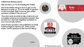 Restate the Question - Speaking Task Cards