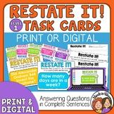 Restate the Question Task Cards (Beginning Set for Grades 2-4)