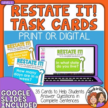 Restate the Question Task Cards (Beginning Set for Grades 2-4)