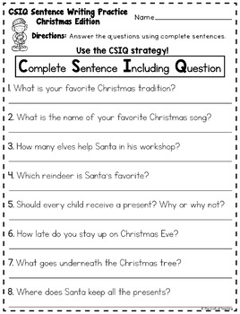 Christmas Task Cards Writing Sentences with CSIQ