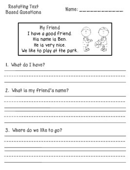 Text Based Comprehension Question Printables - Kindergarten/First Grade